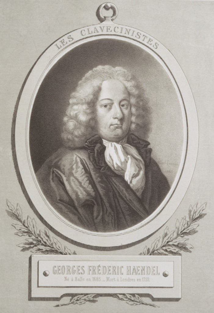 Detail of Portrait of George Frederick Handel frontispiece of a music score by French School
