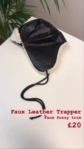 Faux leather trapper