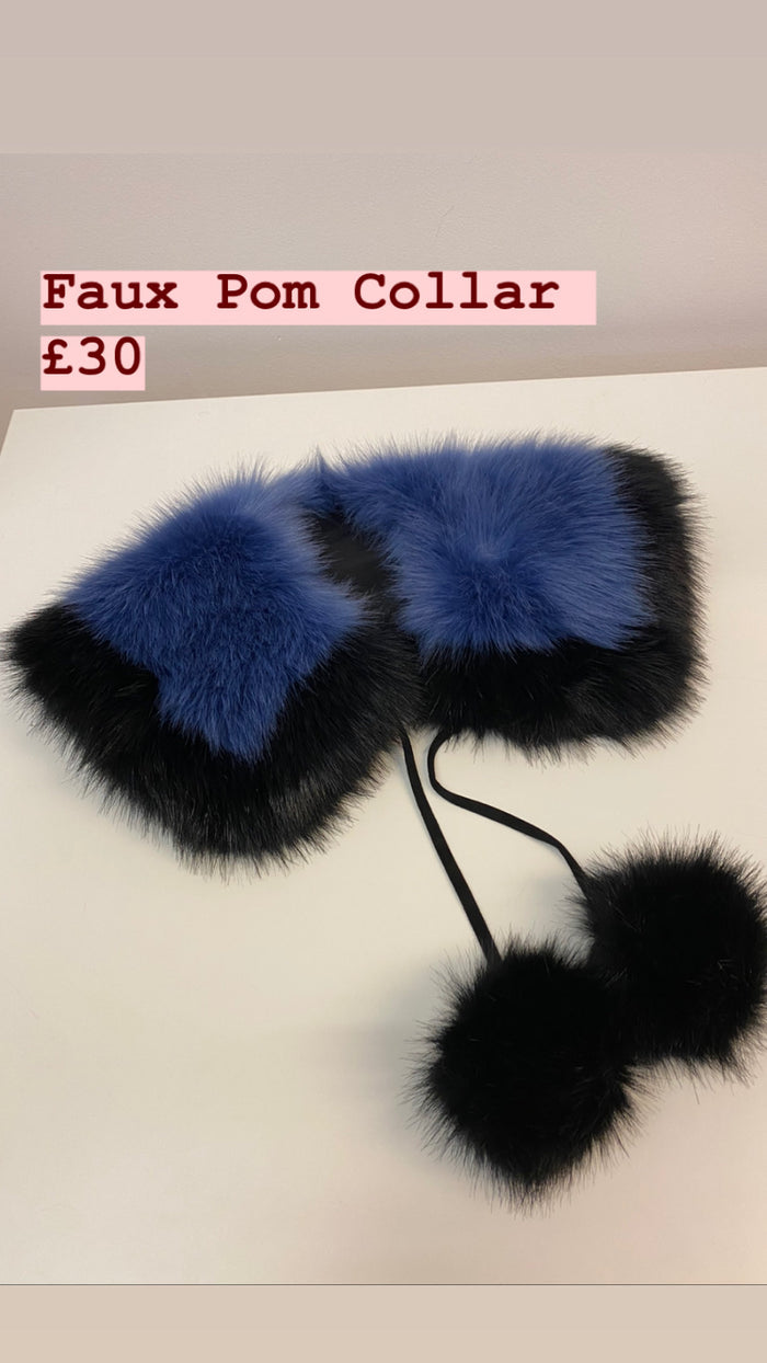 Faux Pom Blue Collar
