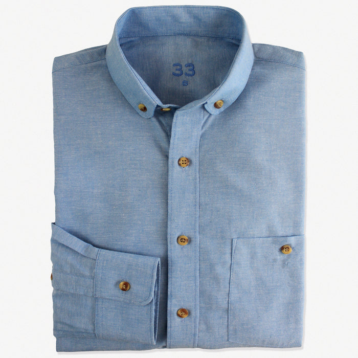 NEW Slim-Fit Blue Cotton Shirt