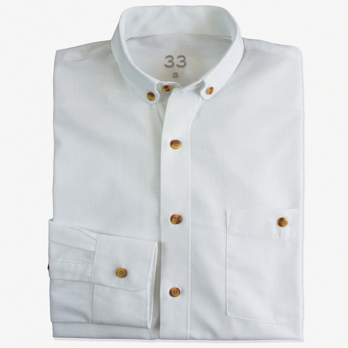 Slim-Fit White Cotton Shirt