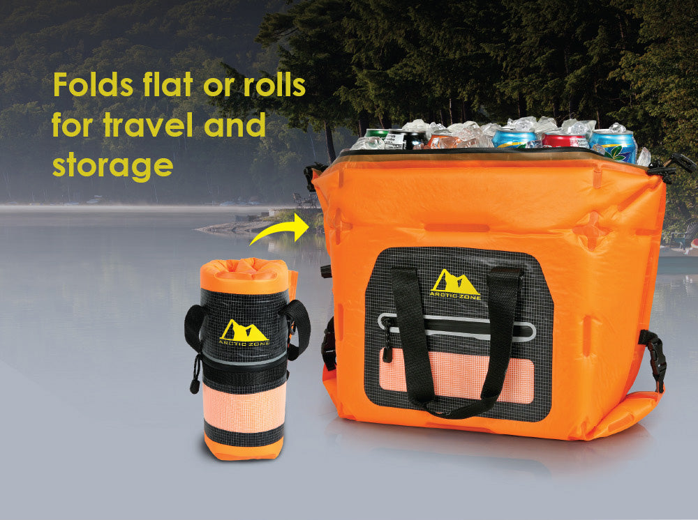 This cooler folds and rolls for easy transportation