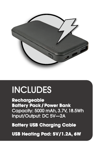 Includes 5,000mAh rechargeable lithium battery pack
