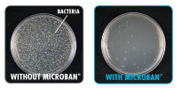 2 petri dishes - Left - showing how much microbes grow without microban - Right - shows how a surface with microban shows far less growth