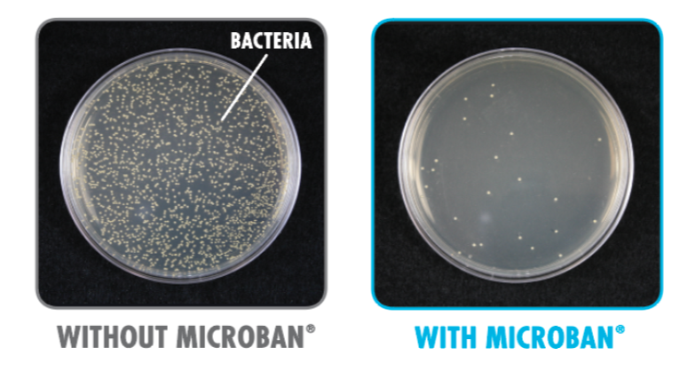 Picture of 2 dishes. Left has no microban it is full of bacteria, right has microban protection and shows very little bacteria