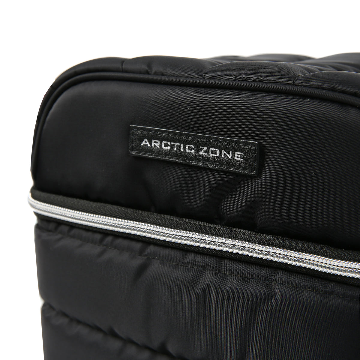 Arctic Zone® Crossbody Quilted Lunch Pack - Black - Zipper detail