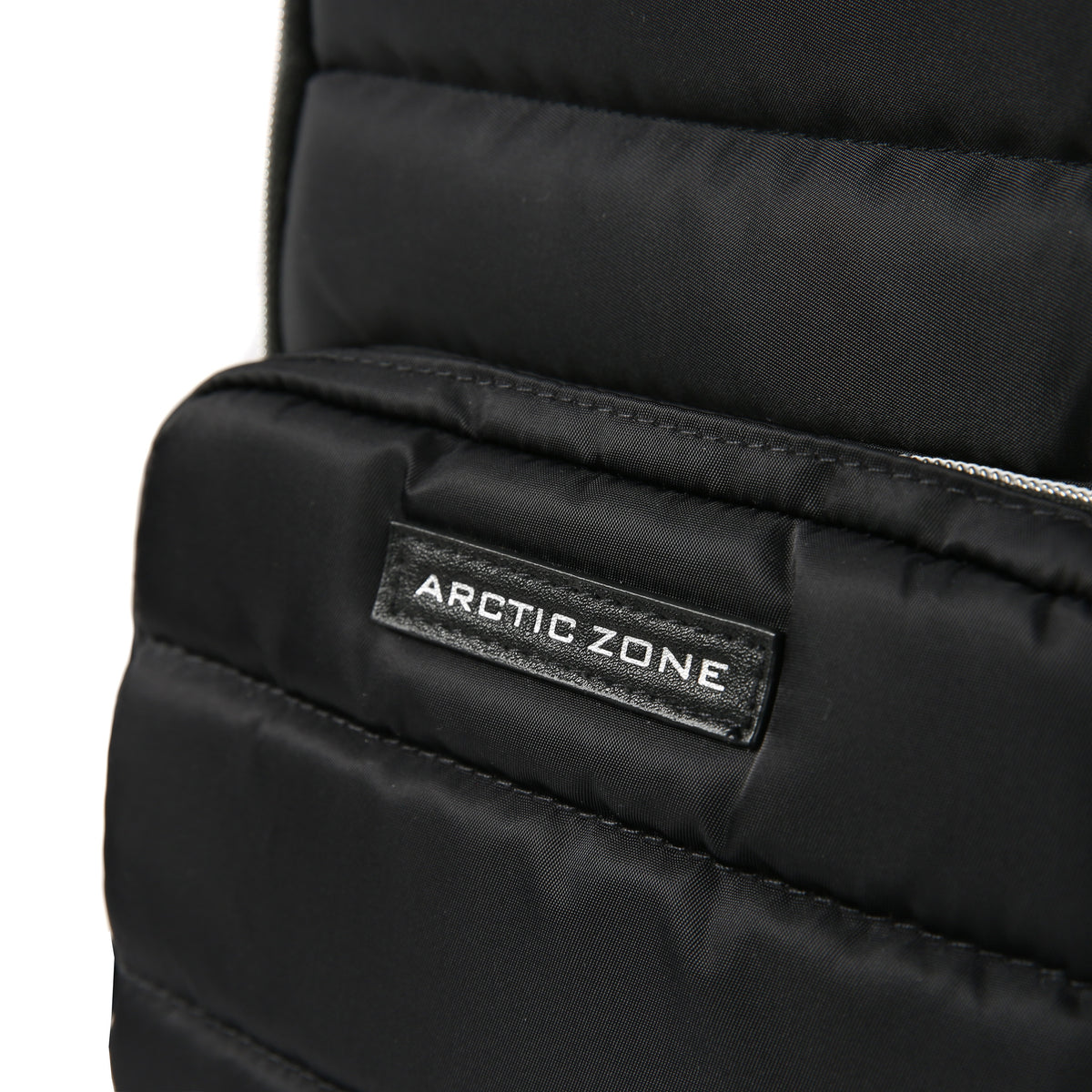 Arctic Zone® Quilted Cooler Backpack - Black - Front zippered pocket