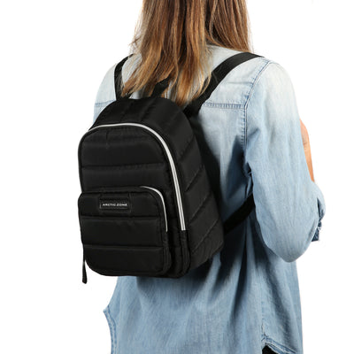 Arctic Zone® Quilted Cooler Backpack - Black - Model carry, backpack style