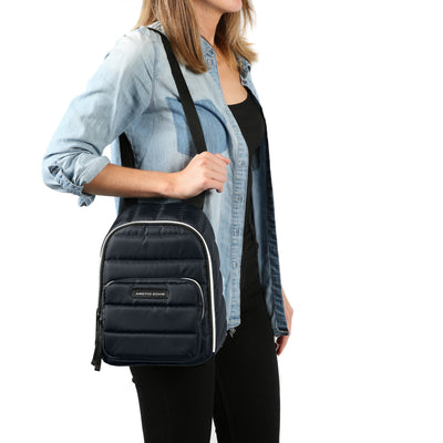 Arctic Zone® Quilted Cooler Backpack - Majolica Blue - Model carry