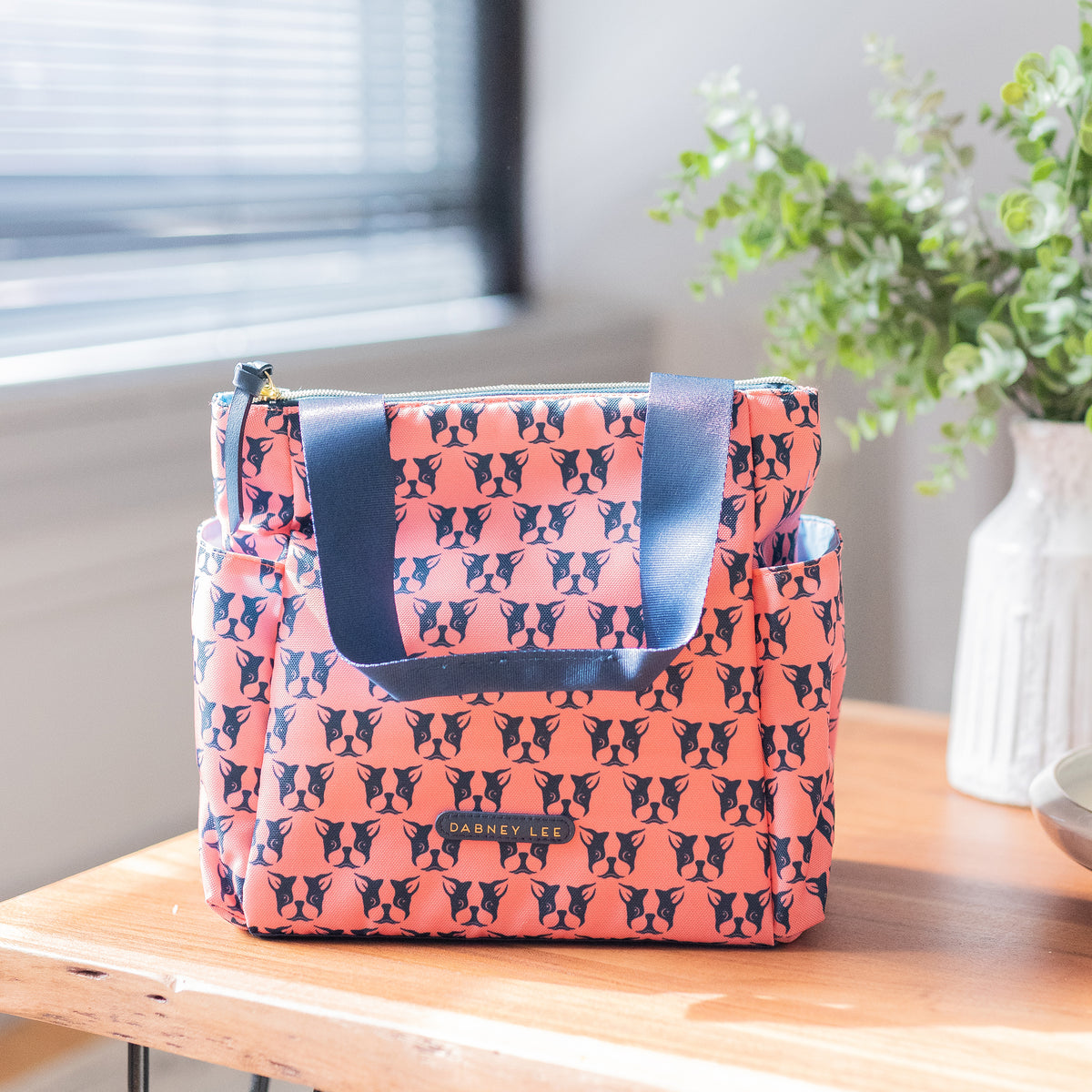 Arctic Zone® Dabney Lee Karina Tote - Polly Coral - Lifestyle, lunch tote on counter