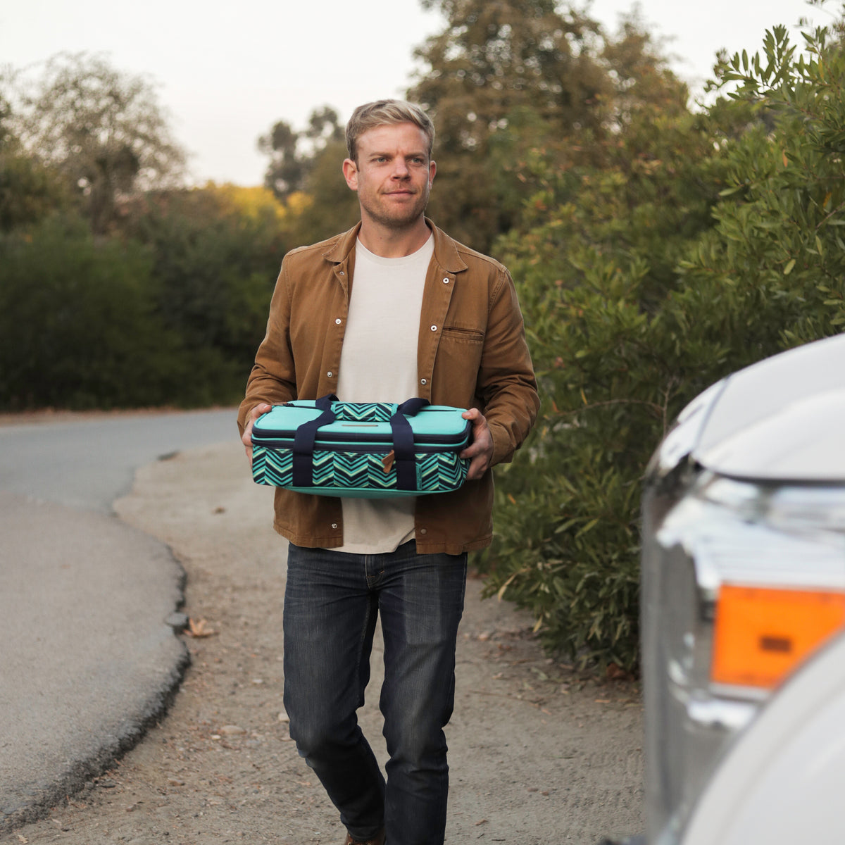 Arctic Zone® Food Pro Expandable Thermal Carrier - Teal - Lifestyle, showing up to the potluck