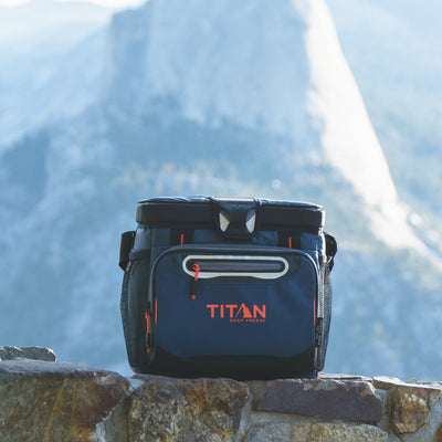 Titan Deep Freeze® 16 Can Zipperless™ HardBody® Cooler - Navy - Lifestyle, mountain side break