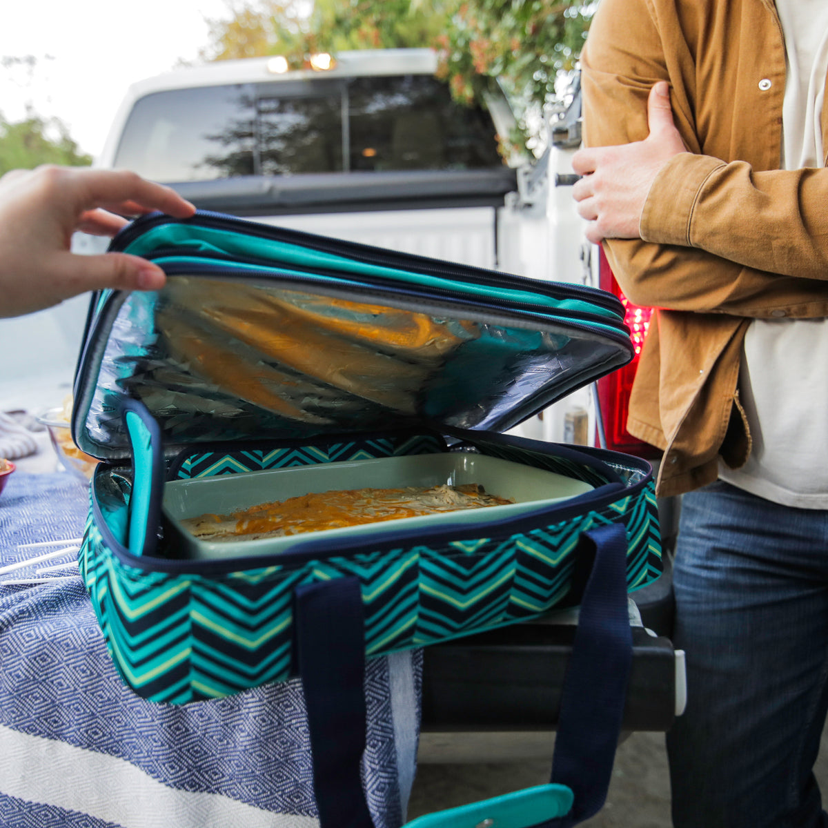 Arctic Zone® Food Pro Expandable Thermal Carrier - Teal - Lifestyle, taking a peak at the food