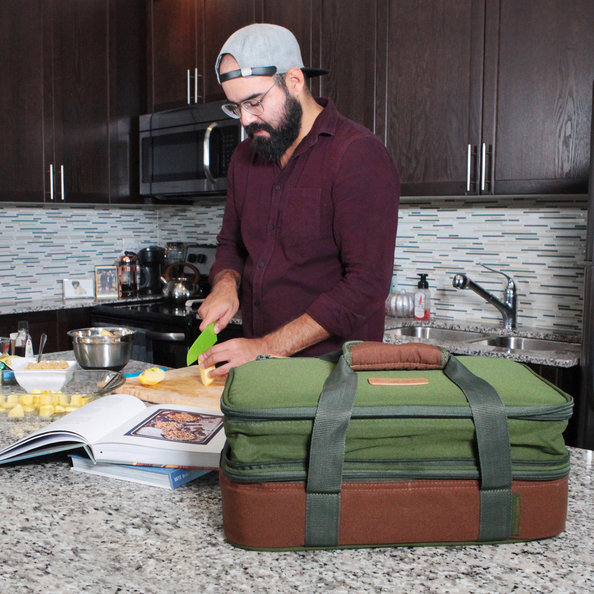 Arctic Zone® Food Pro Expandable Thermal Carrier - Green - Lifestyle, chef at home