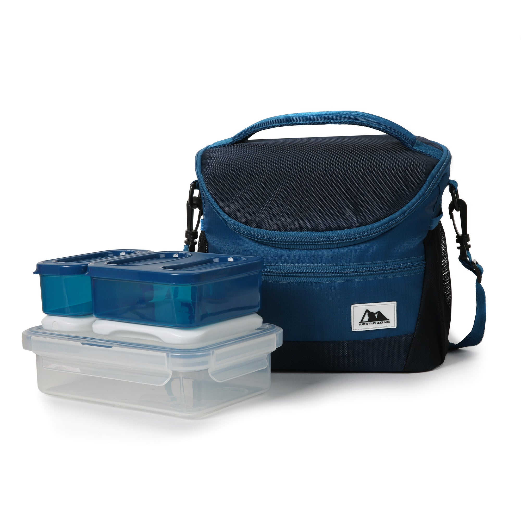 High Performance Meal Prep Day Pack - Blue - Front, with container set