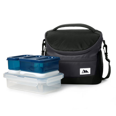 High Performance Meal Prep Day Pack - Black - Front, with container set