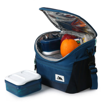High Performance Meal Prep Day Pack - Blue - Open, propped, with containers