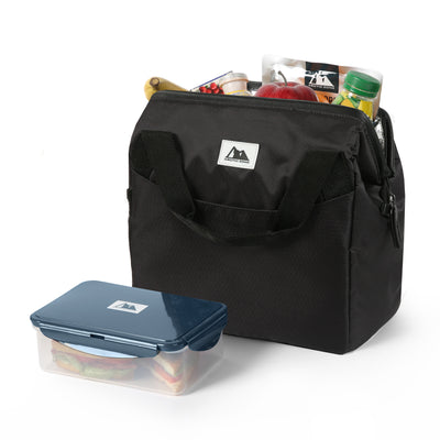 Arctic Zone® High Performance Meal Prep Lunch Bag M.D. - Black - Open, propped with container