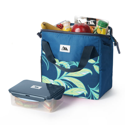 Arctic Zone® High Performance Meal Prep Lunch Bag M.D. - Leafy Lime  - Open, propped with container