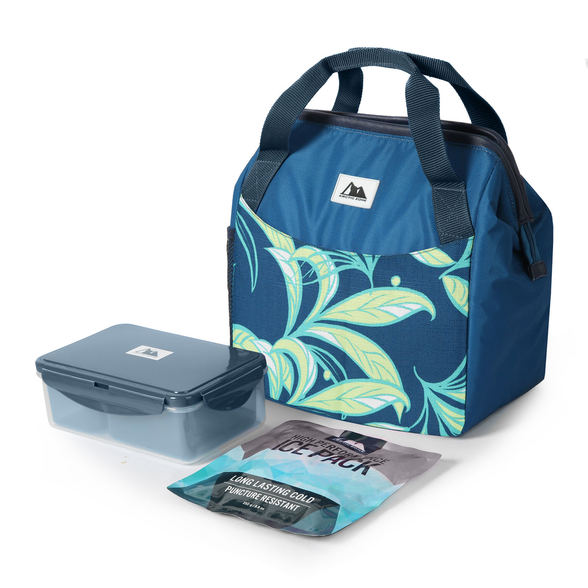 Arctic Zone® High Performance Meal Prep Lunch Bag M.D. - Leafy Lime - Closed, with containers and ice pack