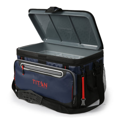 48 Can Titan Deep Freeze® Zipperless™ Cooler  - Navy - Open, empty