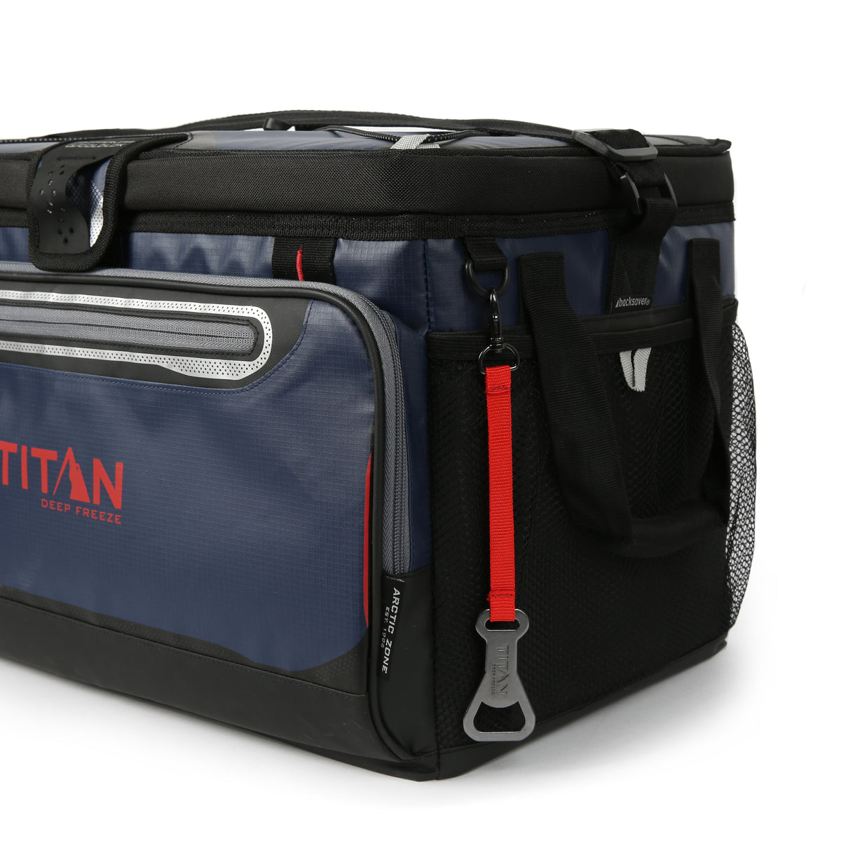 48 Can Titan Deep Freeze® Zipperless™ Cooler  - Navy - Mesh side pockets