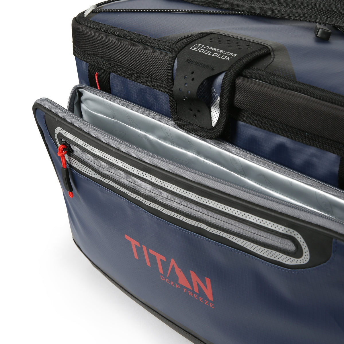 48 Can Titan Deep Freeze® Zipperless™ Cooler  - Navy - Insulated front pocket
