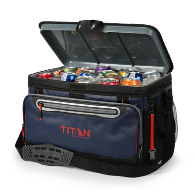 48 Can Titan Deep Freeze® Zipperless™ Cooler  - Navy - Open, propped