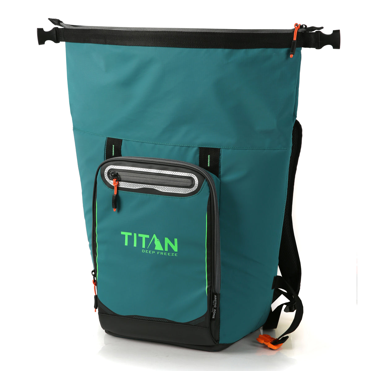 Titan Deep Freeze® 20 Can Rolltop Backpack - Pine - Unrolled, empty