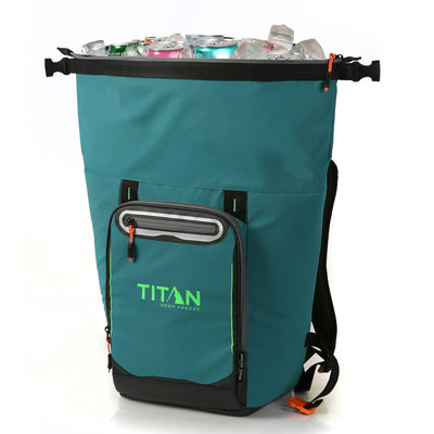 Titan Deep Freeze® 20 Can Rolltop Backpack - Pine - Unrolled, propped