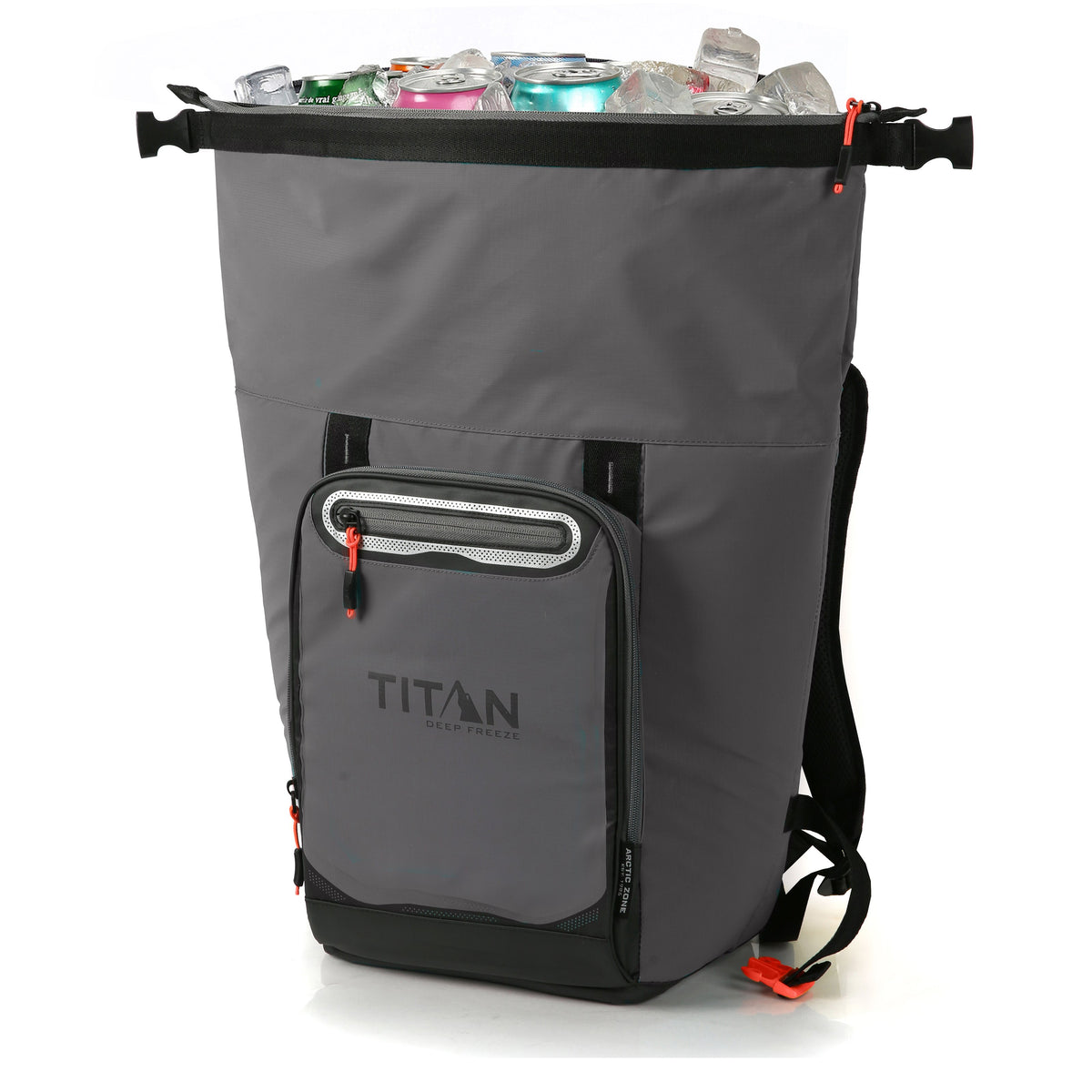 Titan Deep Freeze® 20 Can Rolltop Backpack - Sharkskin Gray - Unrolled, propped