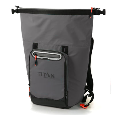 Titan Deep Freeze® 20 Can Rolltop Backpack - Sharkskin Gray - Unrolled, empty