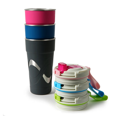 Arctic Zone® 20oz Super Chug™ Stainless Steel - Pink - All stacked together