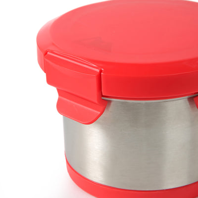 Leak Proof 16oz Thermal Bowl With Safe & Easy 4 Lock Lid - Red - Lock Lid