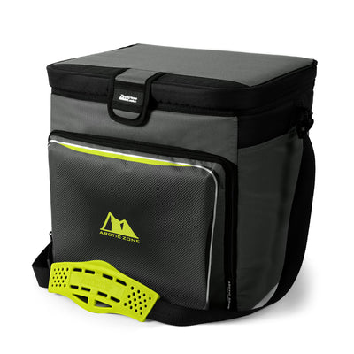 Arctic Zone® 40 Can Zipperless™ HardBody® Cooler - Grey/Green - Front, closed