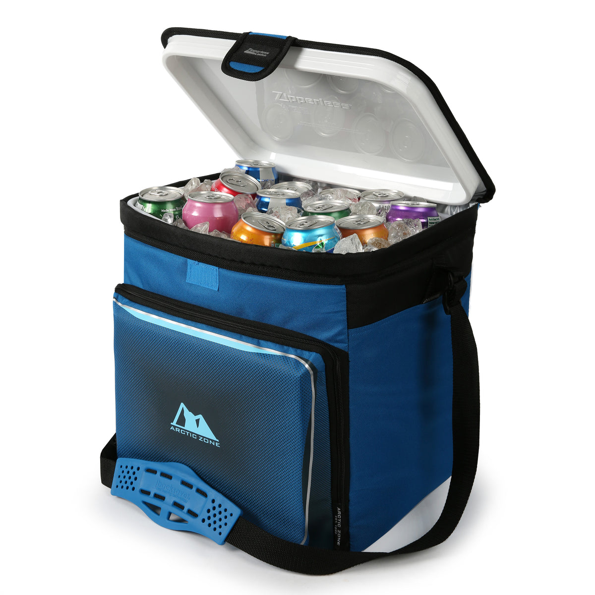 Arctic Zone® 40 Can Zipperless™ HardBody® Cooler - Blue -  Open, propped