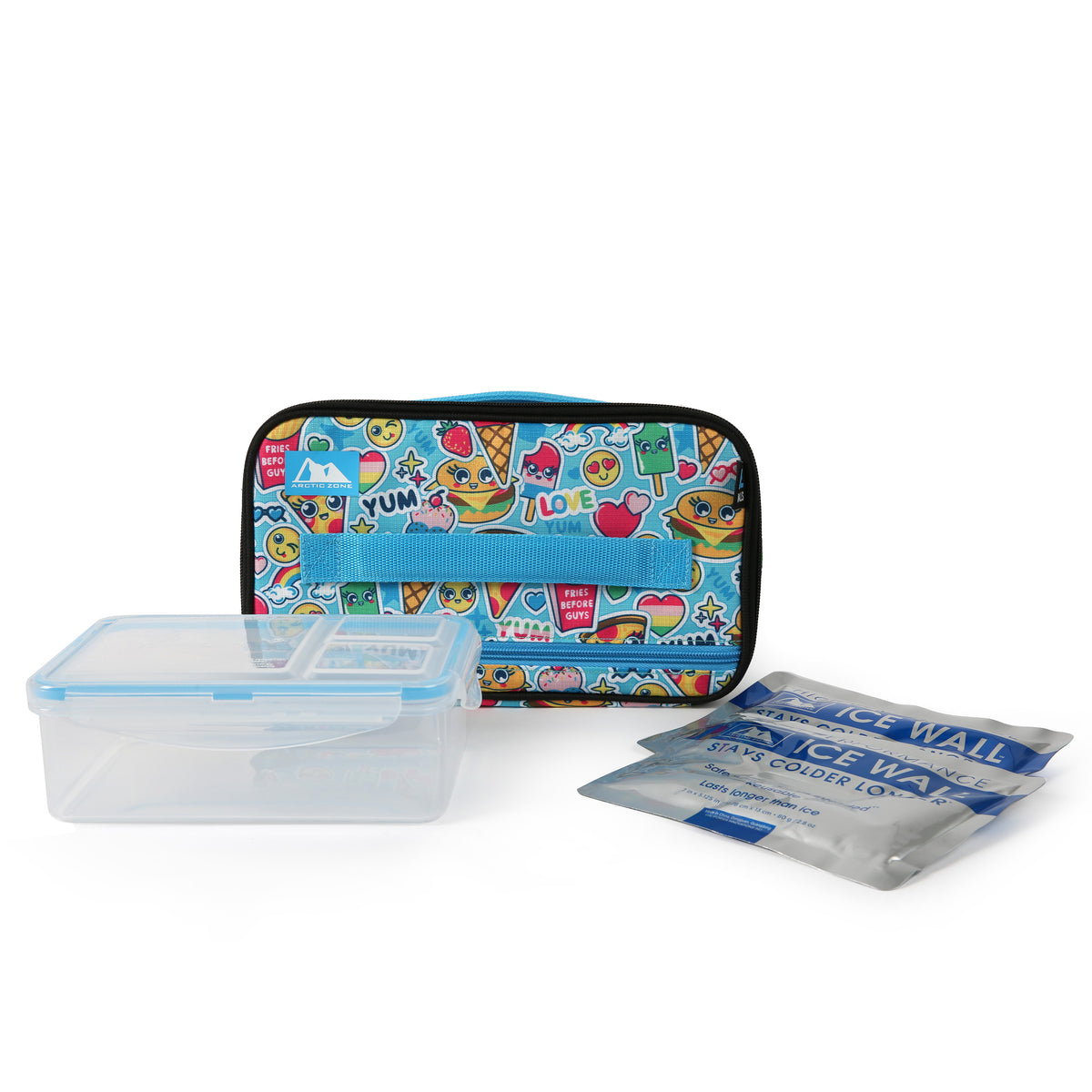 Arctic Zone® Ice Walls® Lunch Box with 2x 140g High Performance Ice Walls® & 2pc Leak Proof Food Container - Cute food