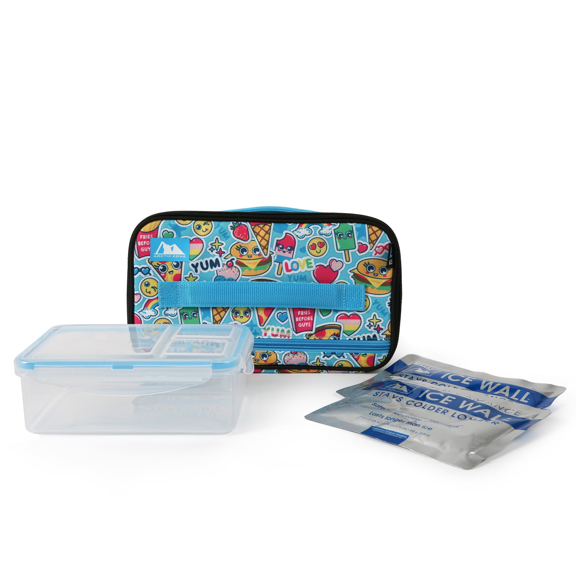Ice Walls® Lunch Box with 2x 140g High Performance Ice Walls® & 2pc Leak Proof Food Container - Cute food