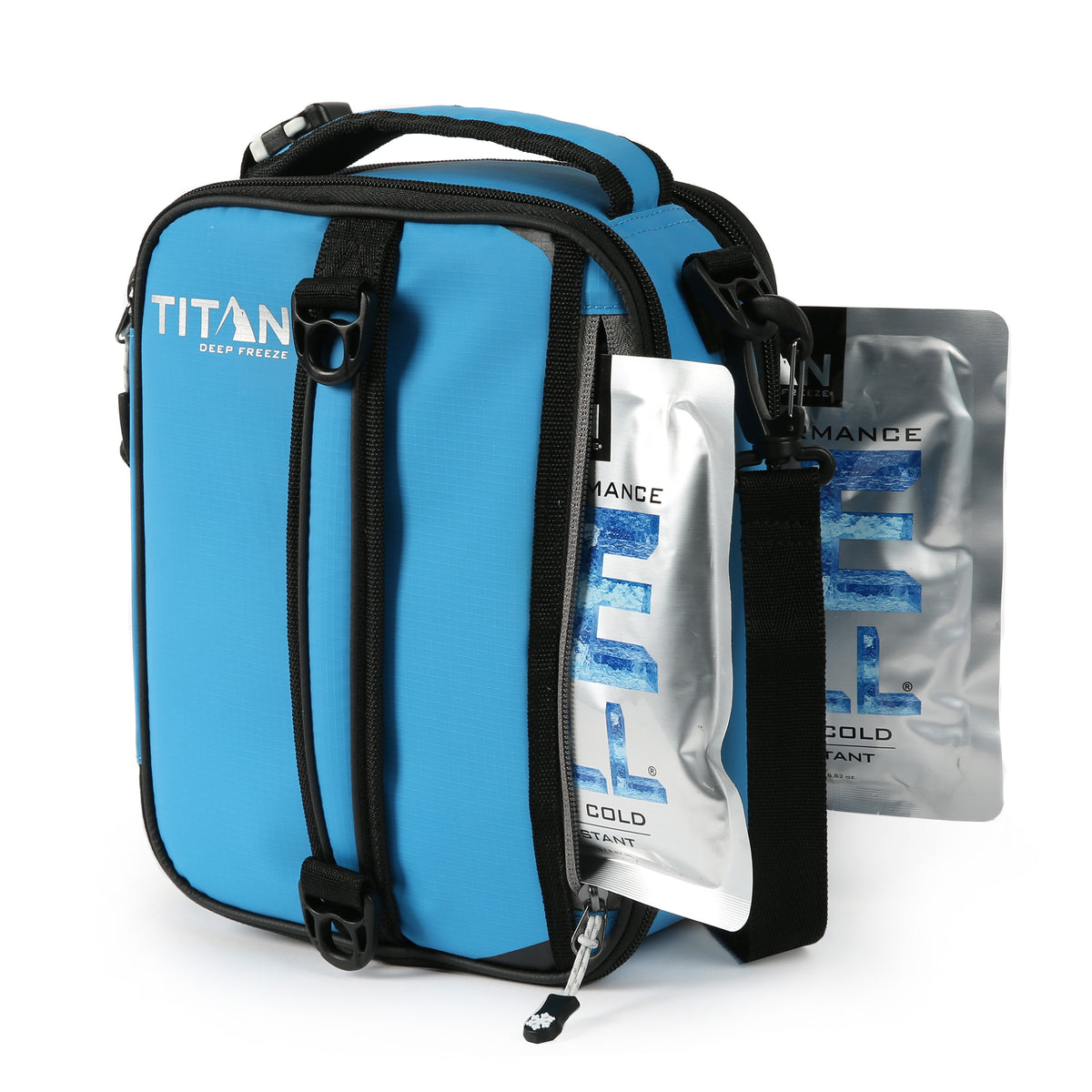 Titan Deep Freeze® Expandable Lunch Box - Blue - Front, ice walls