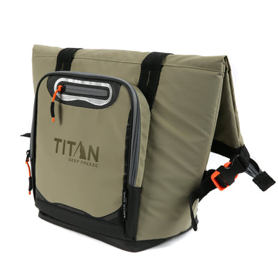 Titan Deep Freeze® 12 Can Insulated RollTop Tote - Tan - Front, closed