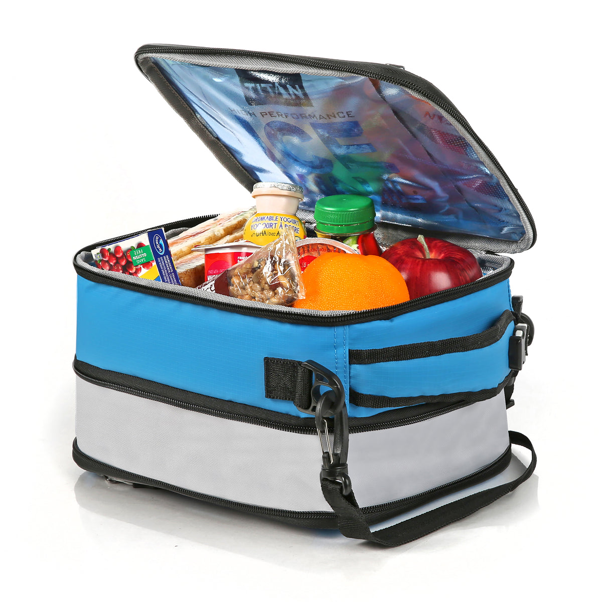 Titan Deep Freeze® Expandable Lunch Box - Blue - Open, expanded propped