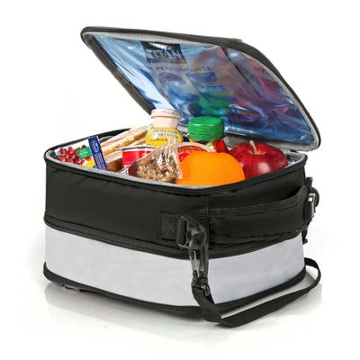 Titan Deep Freeze® Expandable Lunch Box - Black -  Open, expanded propped