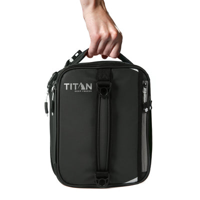 Titan Deep Freeze® Expandable Lunch Box - Black - Carry, vertical