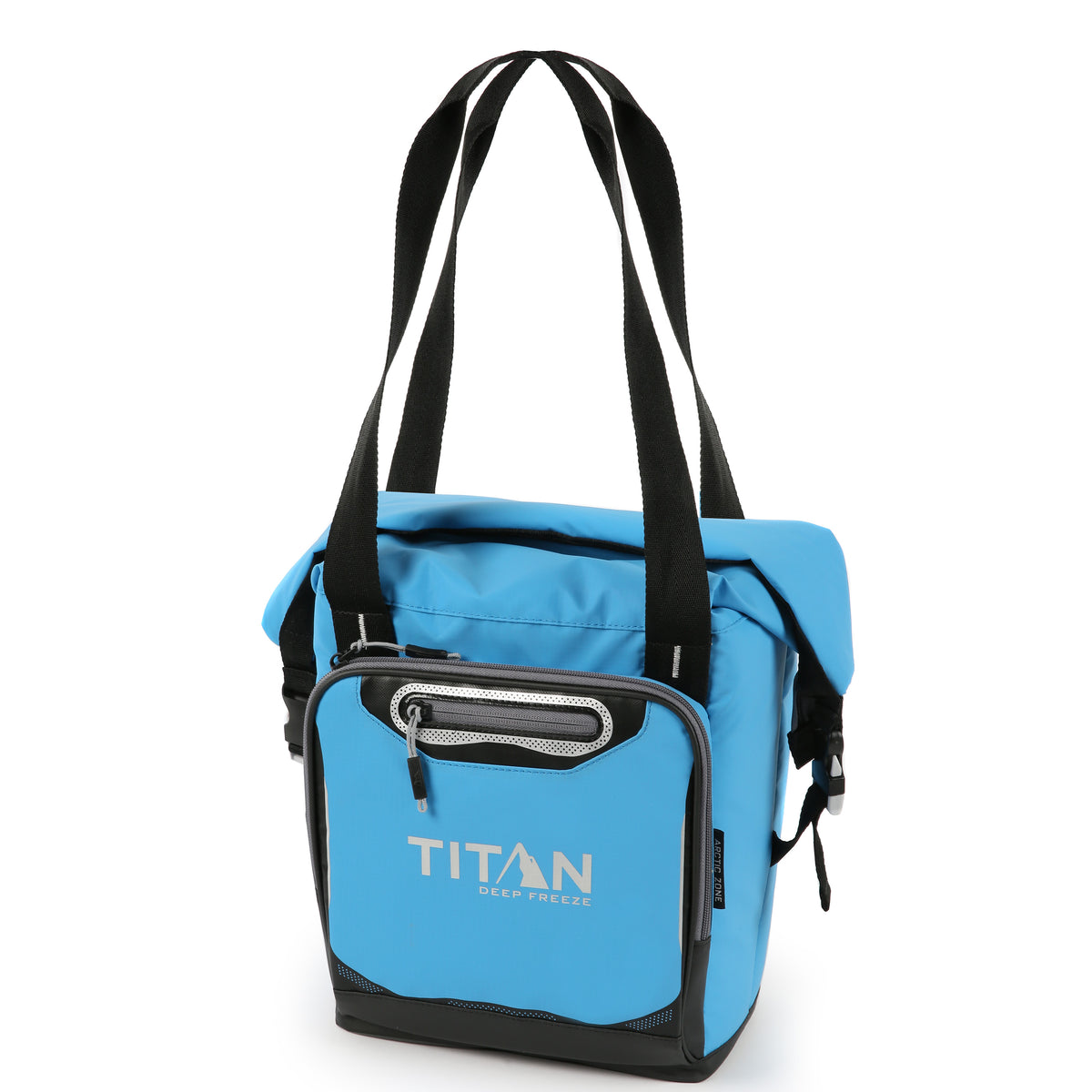 Titan Deep Freeze® 12 Can Insulated RollTop Tote - Blue - Front, closed