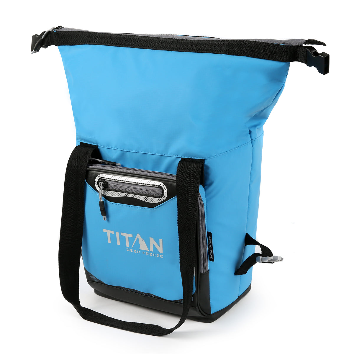 Titan Deep Freeze® 12 Can Insulated RollTop Tote - Blue - Open, expanded
