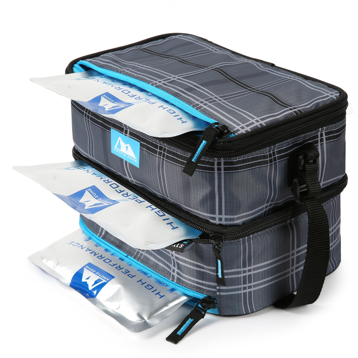 Arctic Zone® Ice Walls® Dual Compartment Lunch Pack - Wilfred Plaid - ice walls inside