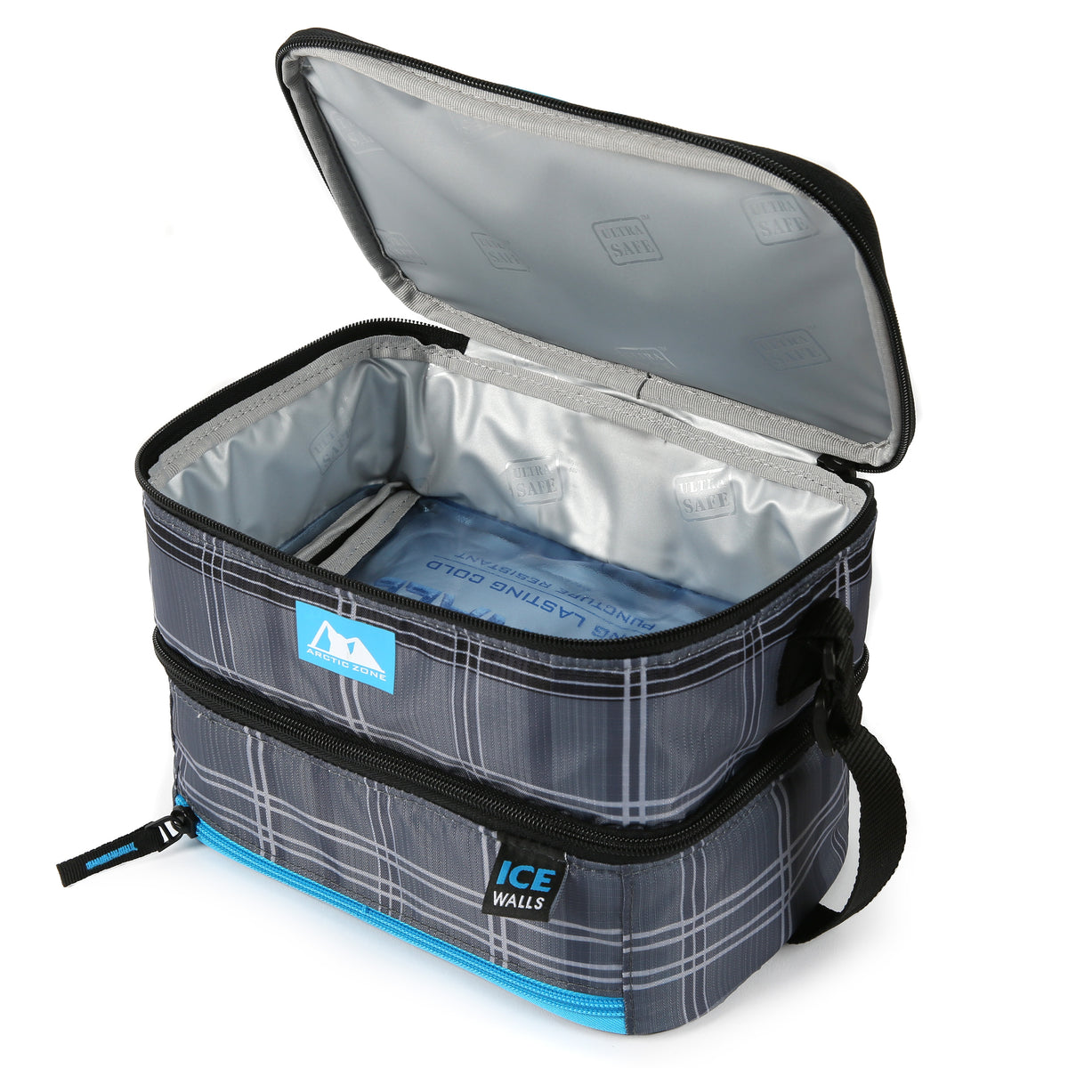 Arctic Zone® Ice Walls® Dual Compartment Lunch Pack  - Wilfred Plaid - Open,empty