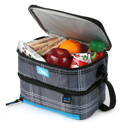 Arctic Zone® Ice Walls® Dual Compartment Lunch Pack  - Wilfred Plaid - Open, propped