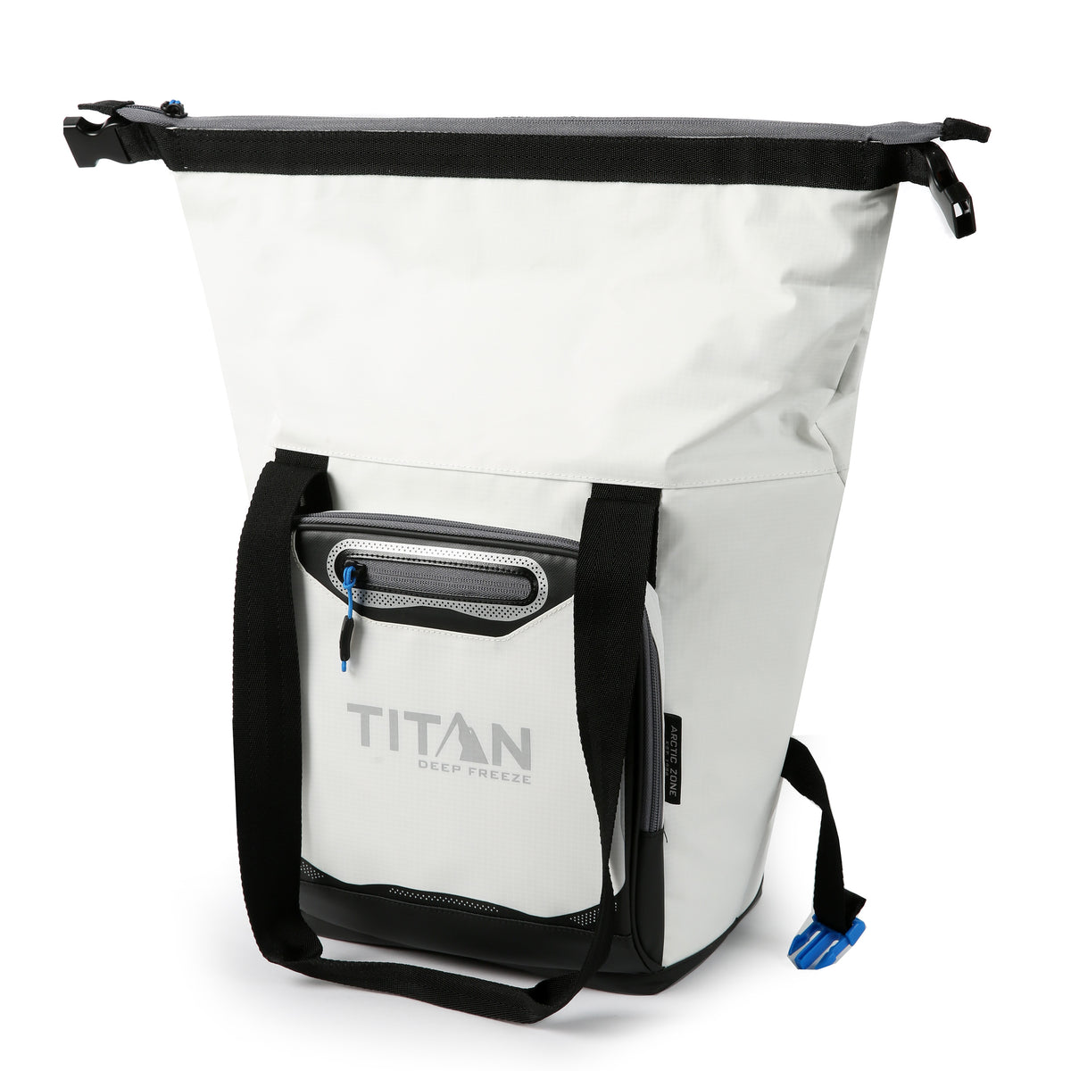 Titan Deep Freeze® 12 Can Insulated RollTop Tote - White - Open, extended