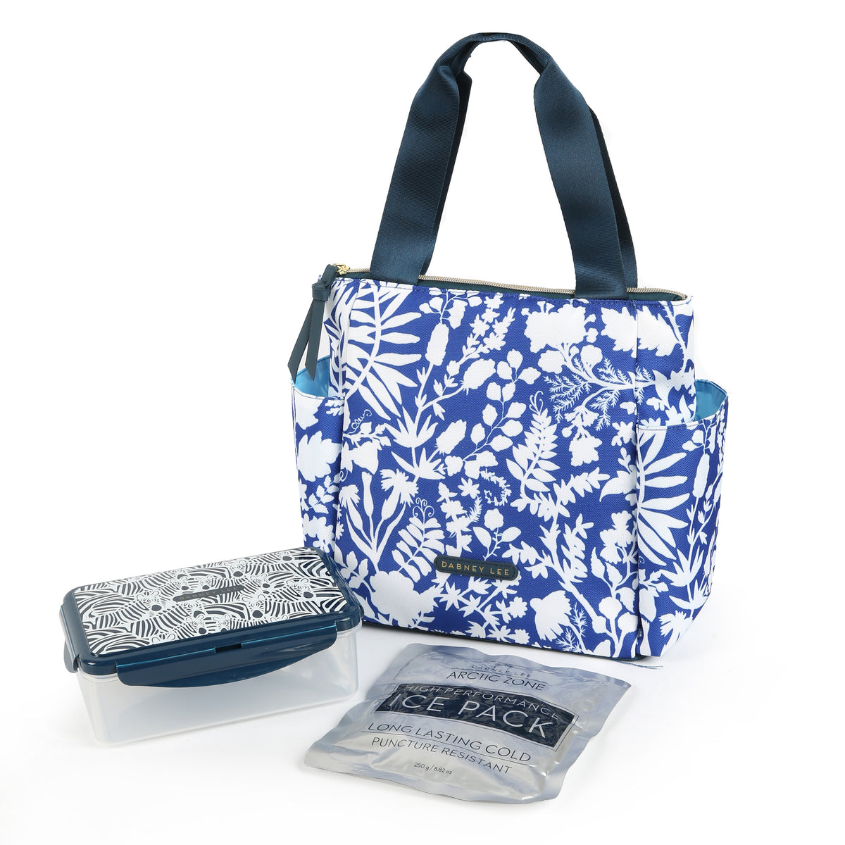 Arctic Zone® Dabney Lee Karina Tote - Summer Fling - Front, closed with container and ice pack